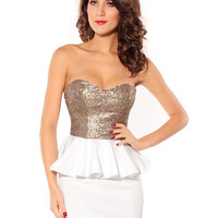 White and Grey Strapless Cut Out Back Sequined Peplum Mini Dress