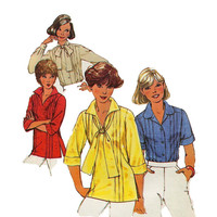 1970s BLOUSE PATTERN PULLOVER Top Pattern Tunic Button Front Shirt Simplicity 8209 Bust 36 Size 14 Vintage Womens Sewing Patterns