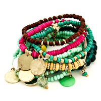Multi-Colored Medallion Bracelet Stack