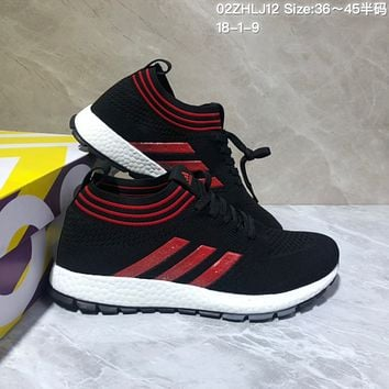 KUYOU A443 Adidas Pure Boost RBL 2019 Flyknit Fashion Running Shoes Black Red