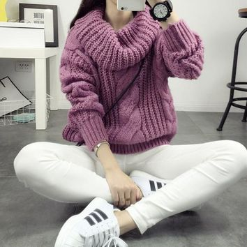freeshipping 2016 autumn winter new women Mohair Twist knitted pullover sweater turtleneck loose Korean sweater coat pull femme