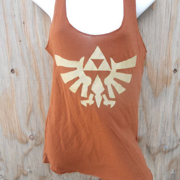 Brown Legend of Zelda Triforce Eagle Racerback tank by Stitch3d