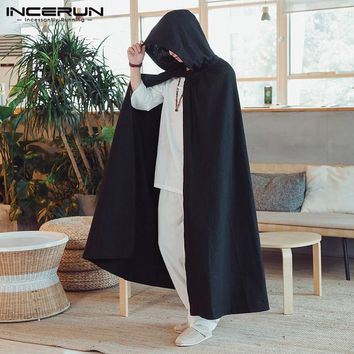 INCERUN 2018 Punk Trench Mens Long Coats Cloak Hiphop Jacket Outwear Vintage Cape Male Men Clothes Windbreaker Fashion Moletom
