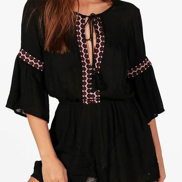 Aylin Cold Shoulder Embroidered Playsuit | Boohoo