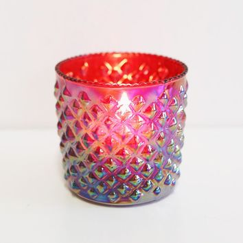 "Iridescent Red Hobnail Glass Royce Votive Holder - 2.5"" Tall"