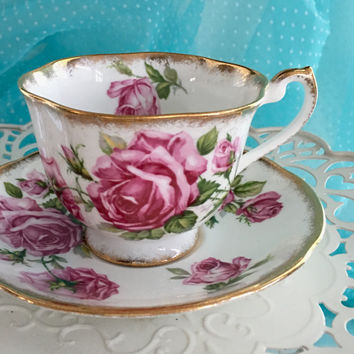 Vintage Royal Standard Tea Cup and Saucer, English China, Pink Tea Cup, Teacup Set, Pink Rose, Birthday Gift for Her