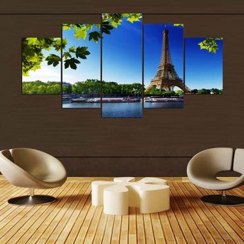 Canvas Poster Painting Wall Art Home Decor  5 Panel Paris Eiffel Tower For Living Room Modern HD Printed Landscape Pictures