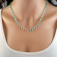 NEW Ombre Beaded Necklace, Silver Plated Chain, Emerald Green Aqua Blue Turquoise, Shaded Czech Glass Beads, Wire Wrapped, Fringe Jewelry