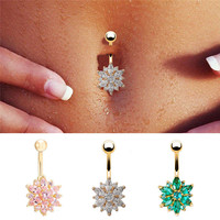 Dangle Navel Body Jewelry Piercings Tassel Flower Cubic Zirconia Belly Button Ring Navel Bar Barbell Body Piercing Jewelry 1PC