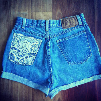 High waisted denim shorts by ShortsNBowsNSuch on Etsy