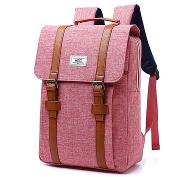 Vintage Men Women PINK Canvas Backpacks School Bags for Teenagers Boys Girls Large Capacity Laptop Backpack Fashion Men Backpack