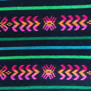 Black Aztec Fabric - One Yard Tribal pattern - Mexican cambaya by the yard - DIY Decor