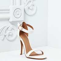 White Leatherette Single Ankle Strap Heels