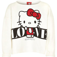 River Island Girls white Hello Kitty sweatshirt
