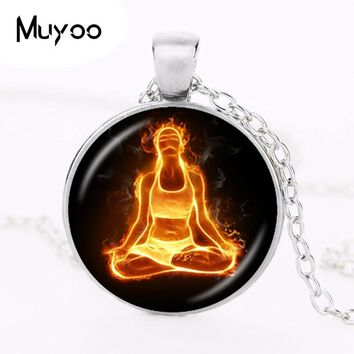 Chakra Necklace Buddha Pendant Yoga Meditation Necklace Reiki Healing Jewelry Spiritual Necklace Om Symbol Necklace HZ1