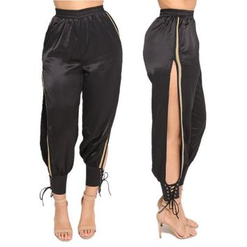 Side split lace up joggers pants