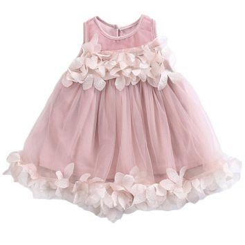 Flower Kids Baby Girl Summer Dresses Princess Bridesmaid Petal Tulle Party Formal Sleeveless Cute Dress