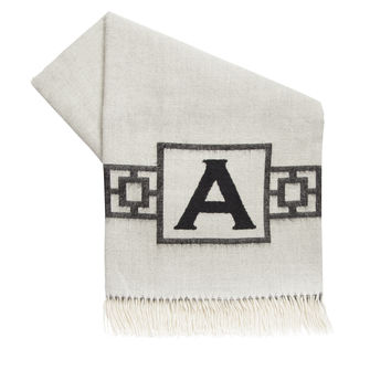 Nixon Border Monogram Baby Alpaca Throw