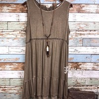 Plus Size Mocha Sleeveless Dress - Washed Look