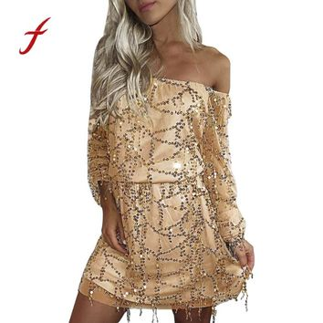womens gold sequin dress 2017 Autumn New Arrival Holiday Cold Shoulder Beads Yarn Mini Dress fashion lady sexy strapless Dress