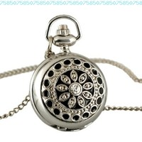 ESS Ladies Stainless Steel Case White Dial Black Pattern Front Necklace Pendant Pocket Watch WP021:Amazon:Watches