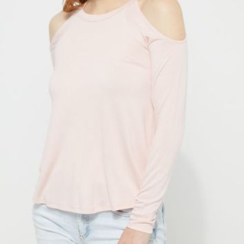 Pink Cold Shoulder Jersey Top