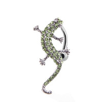 Belly Ring Reverse Green Lizard 14G Belly Button Ring Reverse + 1 Free Belly Retainer