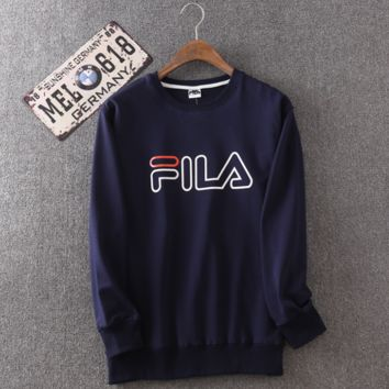 Navy Blue Men's FILA Print Long Sleeve Round Neck Sweatershirt Pullover
