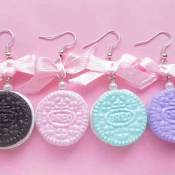 Kawaii Pastel Mini Oreo Earrings w/ Bows