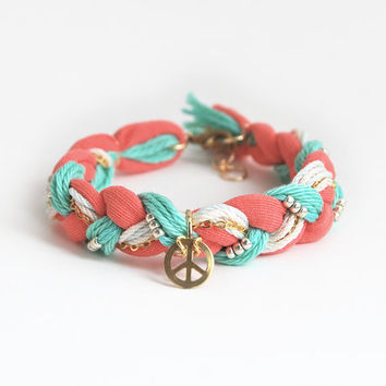 Coral and mint braided bracelet with peace charm, peace bracelet, boho bracelet, hippie bracelet