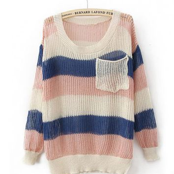 Colorful Rainbow Stripes Poket Sweater $38.00