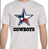 Dallas Cowboys with Texas State Flag Design T-shirt  for Men Women Ladies Youth Kids NFL Football Unique Star