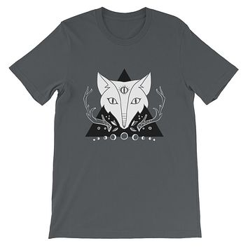 Fox With Third Eye Unisex T-Shirt On Gray