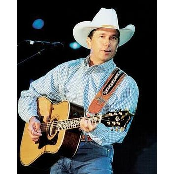 George Strait Guitar poster Metal Sign Wall Art 8in x 12in