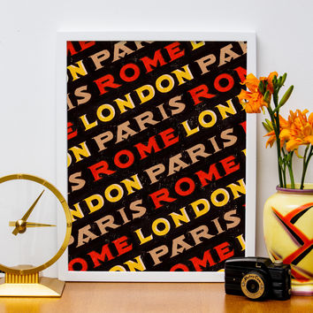 "12"" x 16"" London, Paris, Rome Poster, Travel Europe"