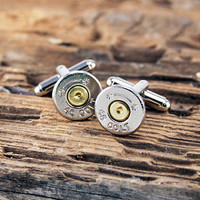 Bullet Cufflinks Long Colt 45 Starline Bullet Cuff Links Nickel Silver Tone