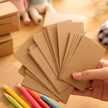 100pcs Kraft Label Blank Luggage Tags Message Card Memo Paper Wedding Party Gift