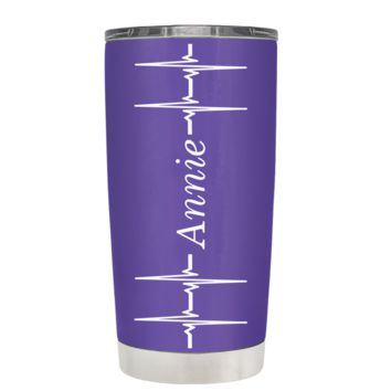 Personalized Heart Beat Pulse on Purple 20 oz Tumbler Cup