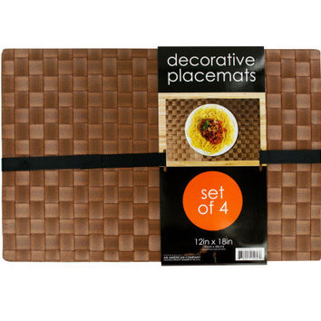 Decorative Wood Look Woven Placemat Set ( Case of 3 )
