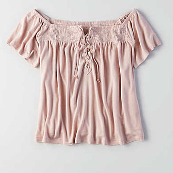 AEO Lace-Up Off-the-Shoulder T-Shirt, Pink