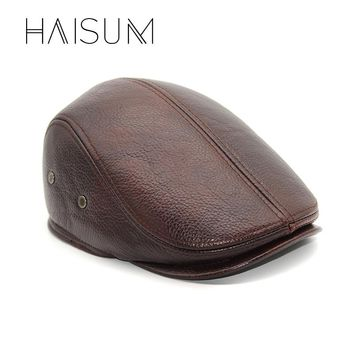 Haisum New Design Men's 100% Genuine Leather Cap Brand Newsboy /Cabbie Hat/baseball Winter Warm Hats With Ears CS11