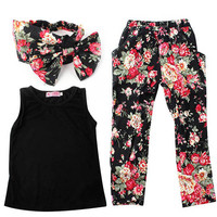 Stylish Girls Sport Cute Clothes Sleeveless Shirt+ Floral Pants Headband 3pcs Vogue Baby Clothing