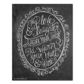 """Irish Blessing """"May Love and Laughter Light Your Days"""" - Print"""