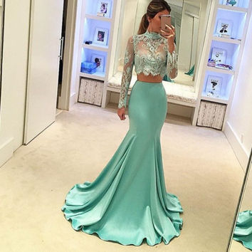 Long Sleeve High NecK Mermaid Prom Dresses,Prom Dress