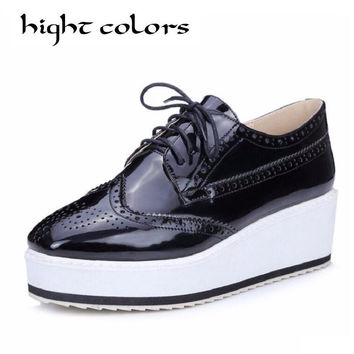 New Women's Winged Oxford Lace Up Striped Platform Sliver Black Casual Vintage Bullock Wedges High Heels Shoes Woman Size 34-45