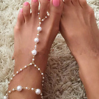 Glamourous Faux Pearl Beads Anklet For Women