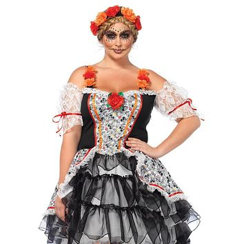 2PC.Sugar Skull Senorita,high/low dress and floral headband in MULTICOLOR