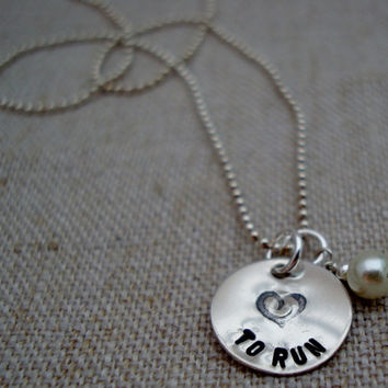 """Sterling Silver """"Heart"""" to Run Charm Necklace"""