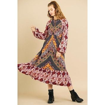 Womens Casual Fashion Dress Scarf Mixed Print Long Puff Sleeve Keyhole Maxi Dress