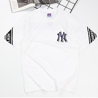 NY Fashion New Embroidery Letter Print Women Men Top T-Shirt White